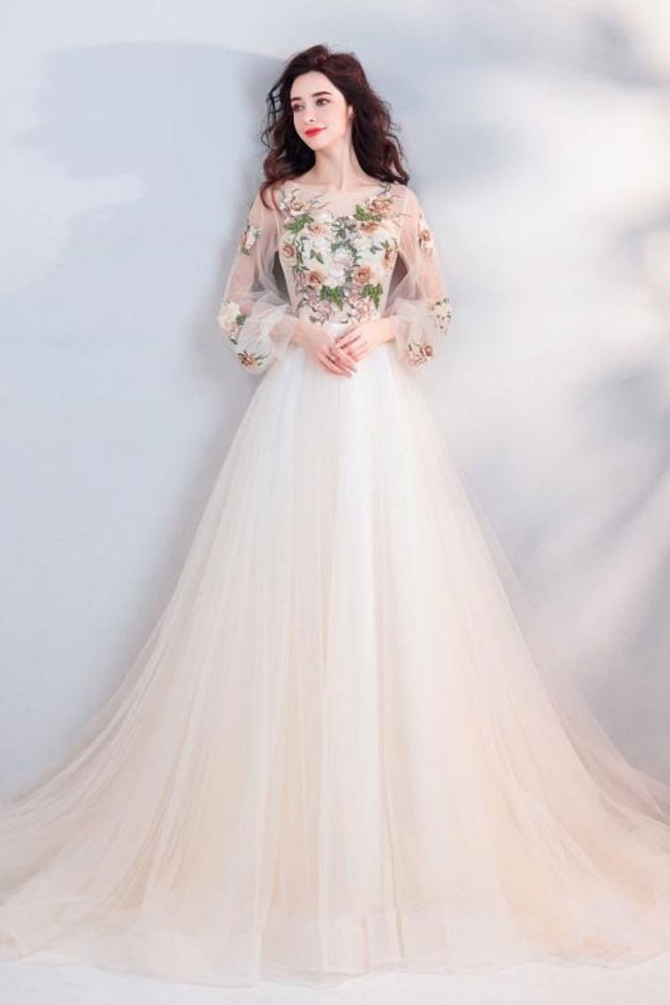 Pretty A Line Long Sleeves Tulle Appliques Prom Dresses With Flowers OKG69 #longsleevepromdress