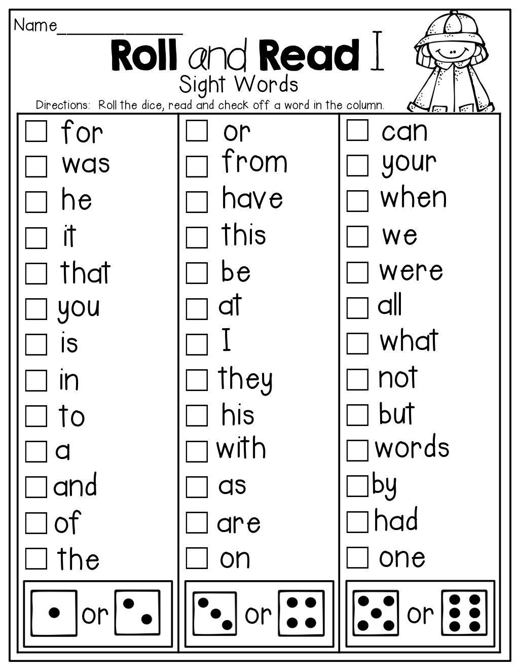 3 Worksheet Kindergarten Sight Words Bingo In With