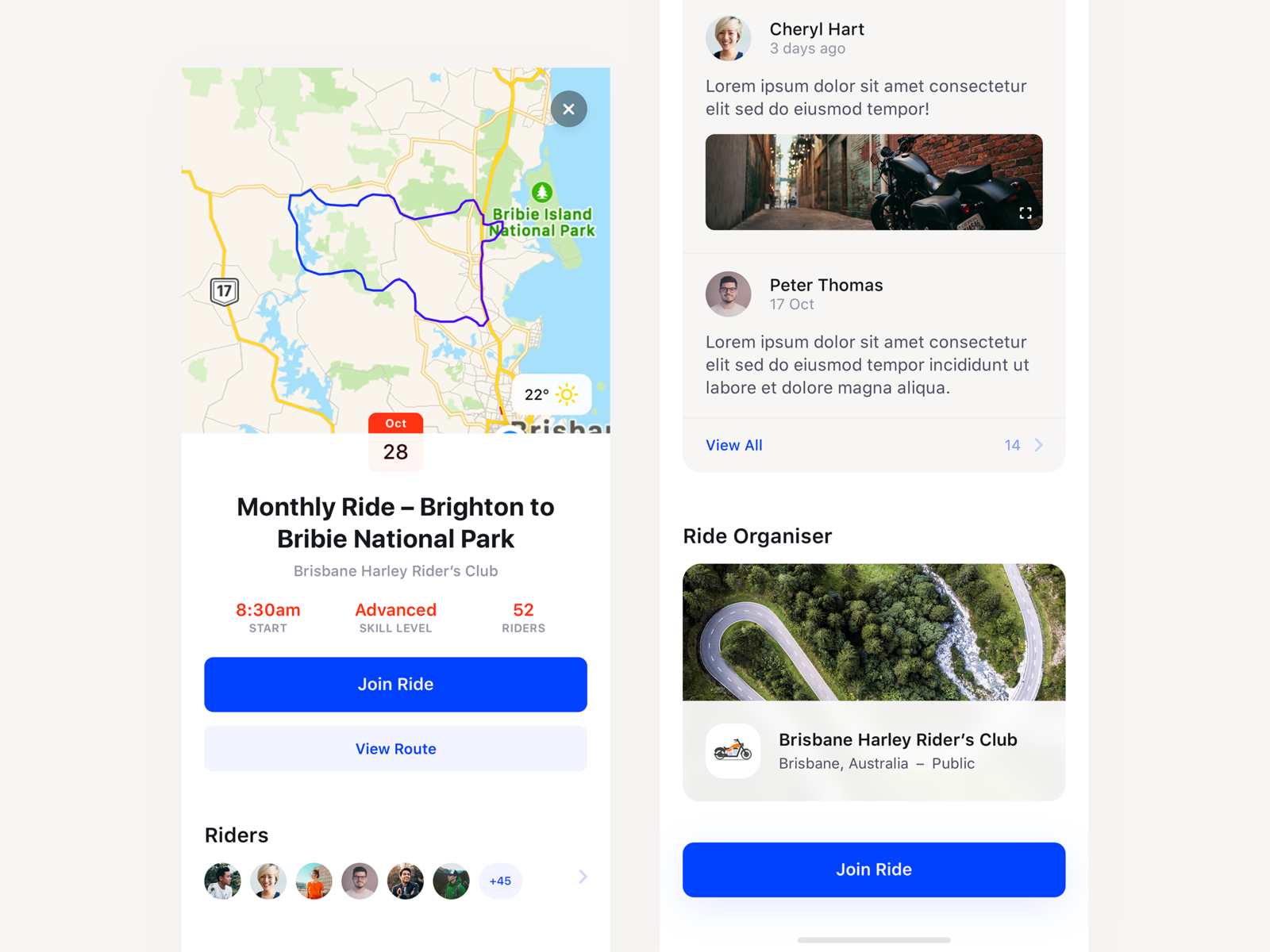 Ride App Event Details Screen App, Ios design