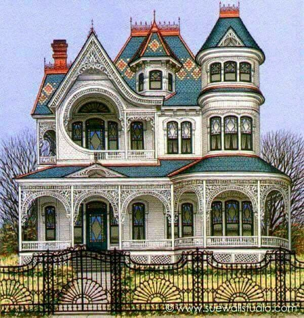 A Quintessential Queen Anne Victorian House Colors Victorian Homes Mansions
