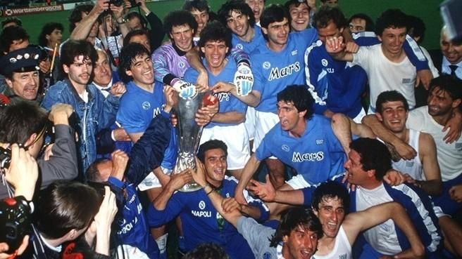 Image result for Photos of Napoli winning the UEFA Cup 1989