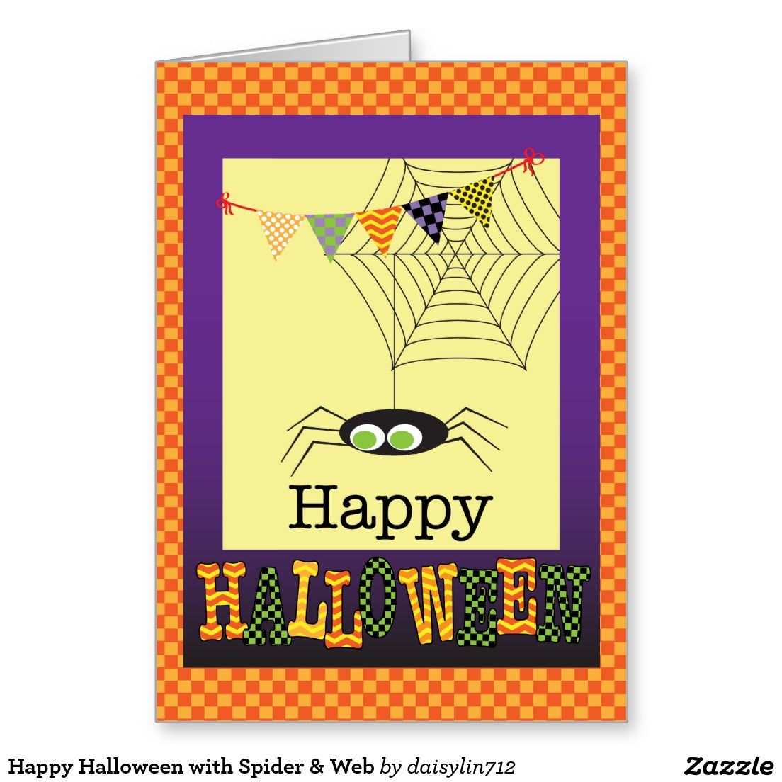 Happy halloween with spider web greeting card zazzle happy halloween with spider web greeting card kristyandbryce Images