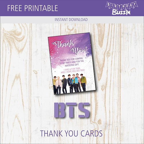 Free Printable BTS Thank You Cards