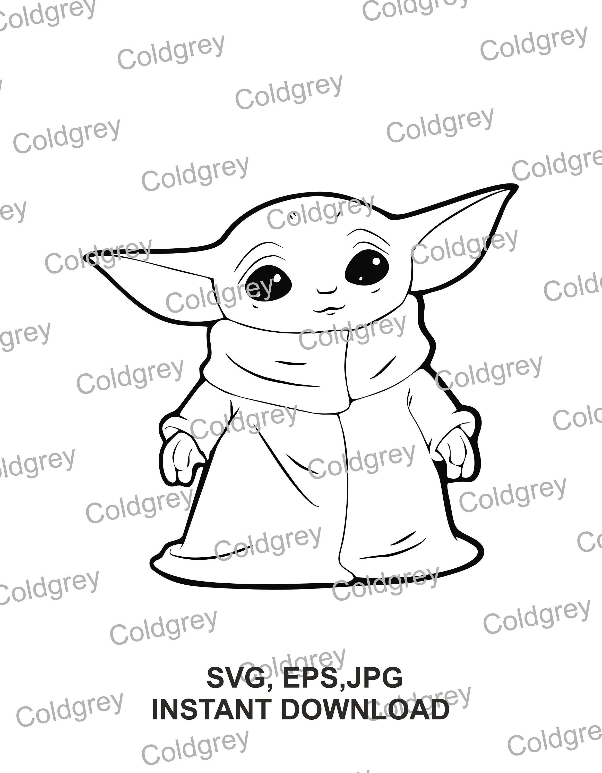 Baby Yoda Outline Svg Eps Jpg Instant Download For Cricut Etsy Yoda Drawing Yoda Art Yoda Images