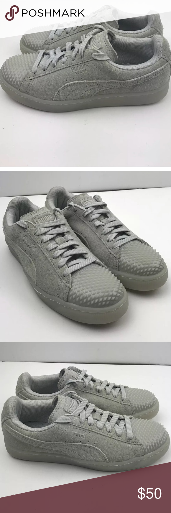 ce60a41b PUMA Suede Jelly Womens Trainers Lace up Gray suede puma sneaker ...