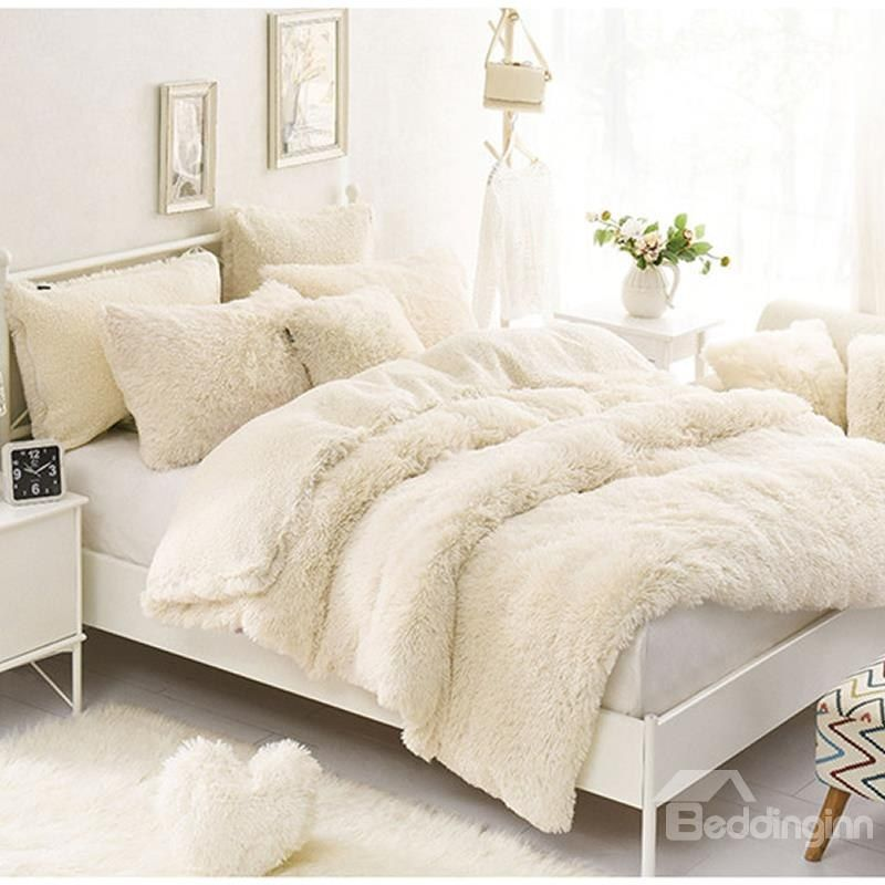 Solid Creamy White Soft 4 Piece Fluffy Bedding Sets Duvet Cover