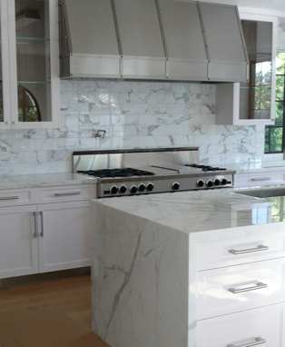 Carrera Marble Slab Counter Top And Quot Waterfall Quot Carrera