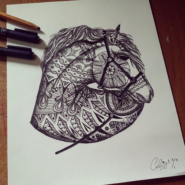Instagram media by abeautyofart - Zentangle Horse requested by @sydney.gilliam ♥