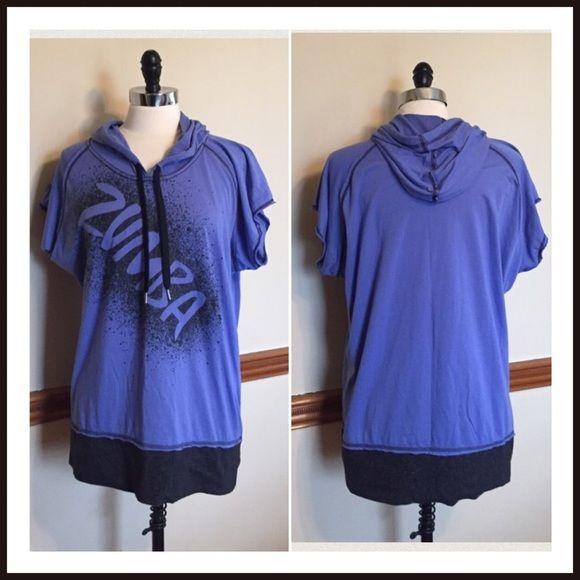 Purple work out Zumba hoodie top shirt Polyester, cotton. Size XXL. EUC Zumba Tops