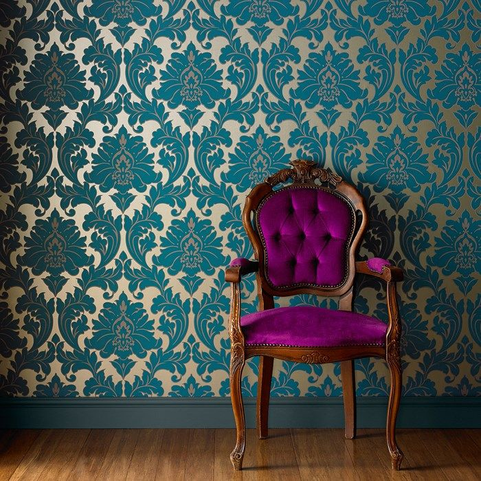 Majestic damask wallpaper designer blue wall coverings for Baroque style wallpaper