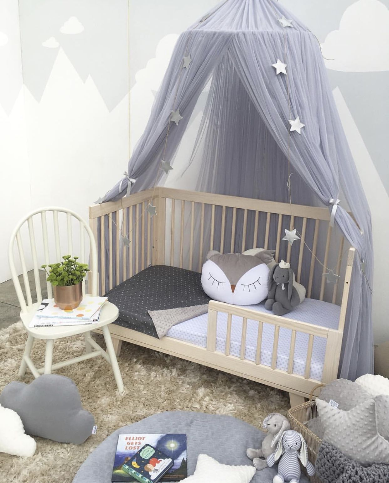 Nursery inspo with Spinkie dreamy canopy in light grey