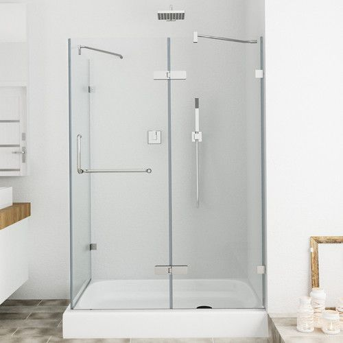 Monteray 48 13 X 79 25 Rectangle Hinged Shower Enclosure With Base Included Frameless Shower Enclosures Shower Enclosure Glass Shower Enclosures