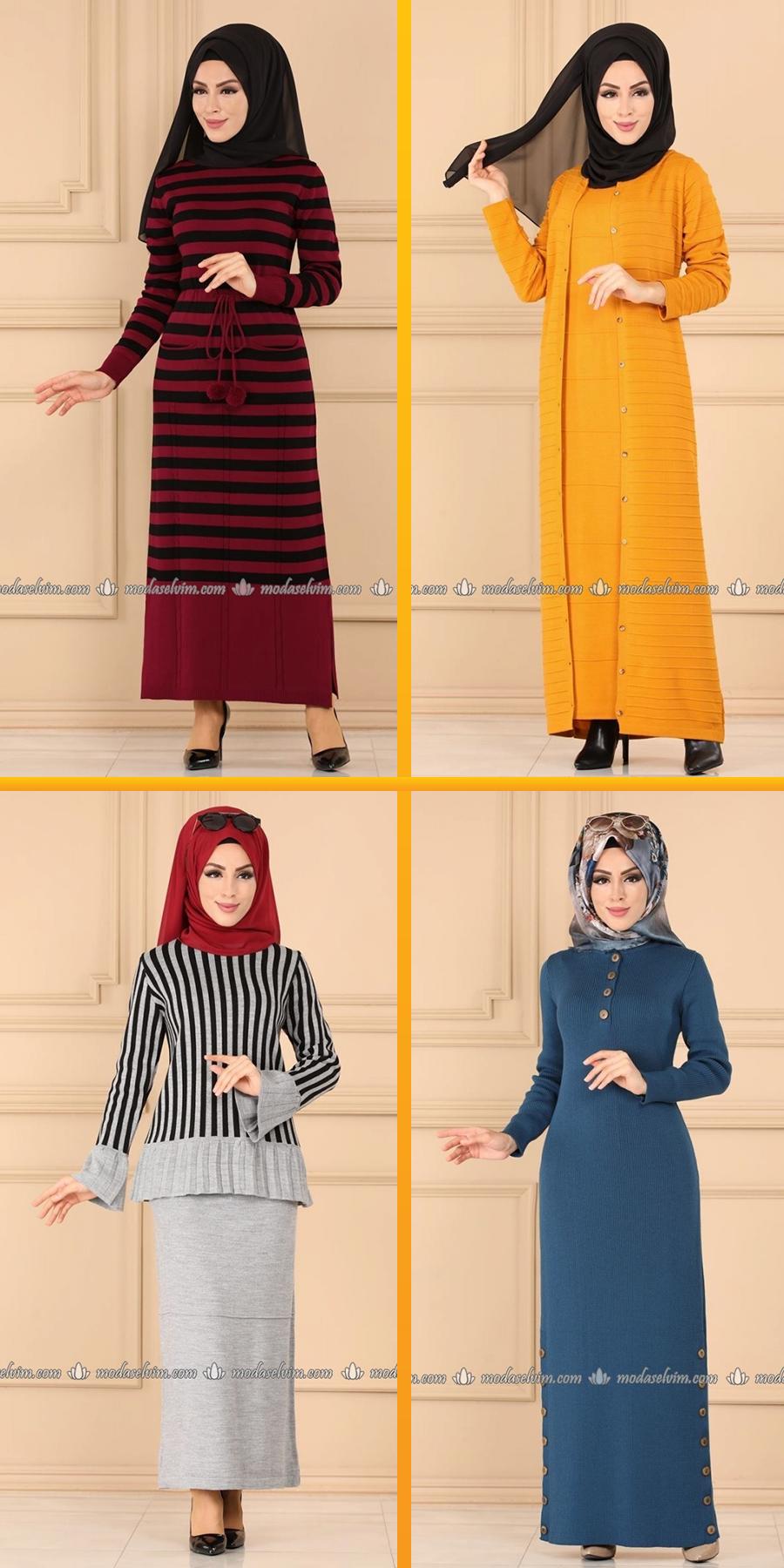 Modaselvim 2020 Triko Tesettur Elbise Modelleri Tesettur Triko Modelleri 2020 Clothes High Neck Dress Fashion