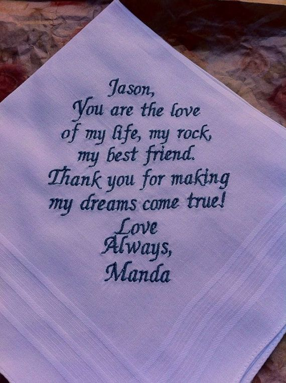 Groom Handkerchief Cute Note From Bride To Her Groom On Her Wedding