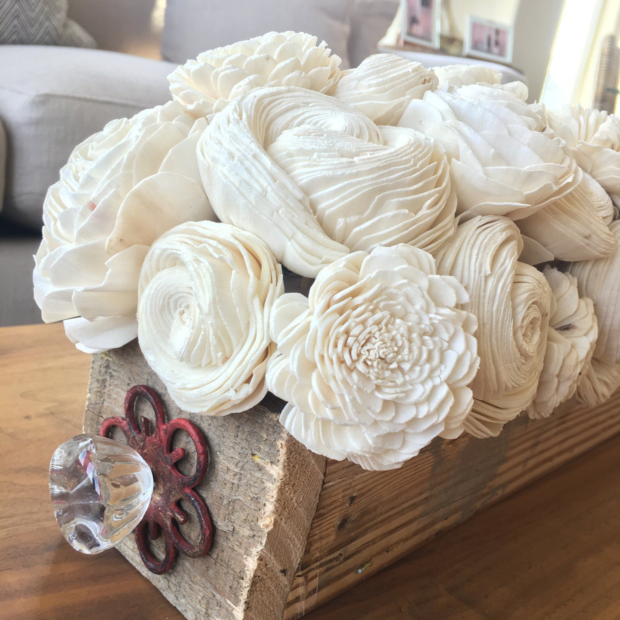 This wood flower centerpiece is made from natural white sola wood ...