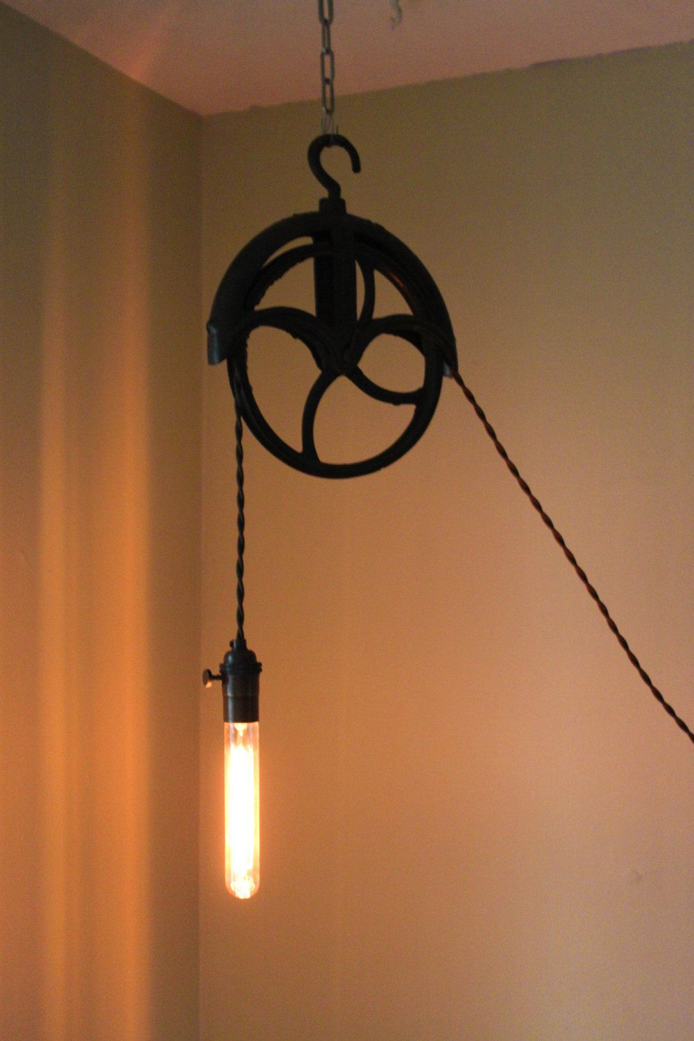 Antique Pulley Lamp By Pgpostals On Etsy Pulley Lamps Pulley Light Lamp