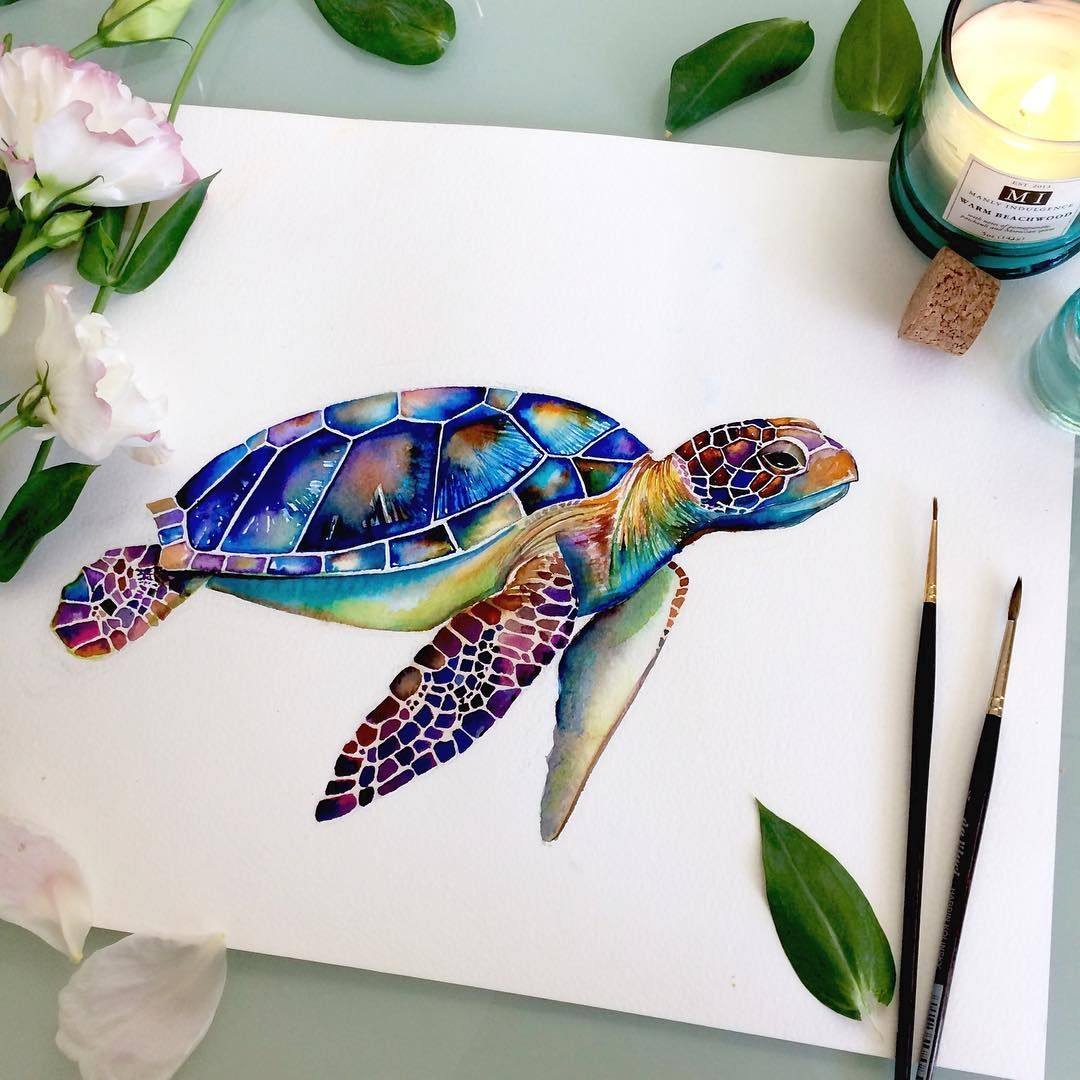 """Clara Yang on Instagram: """"Mr. Turtle is ready to go into the ocean and surf 🏄🌊 🐢  #watercolor #ocean #surf #clarayang #instaart #illustration #coloringbook…"""""""