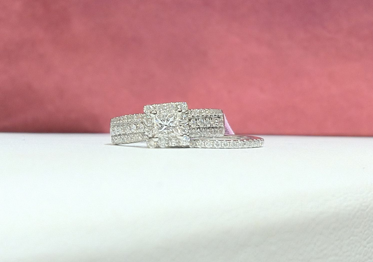 1.20CTW ladies wide pow profile princess cut diamond cathedral ...