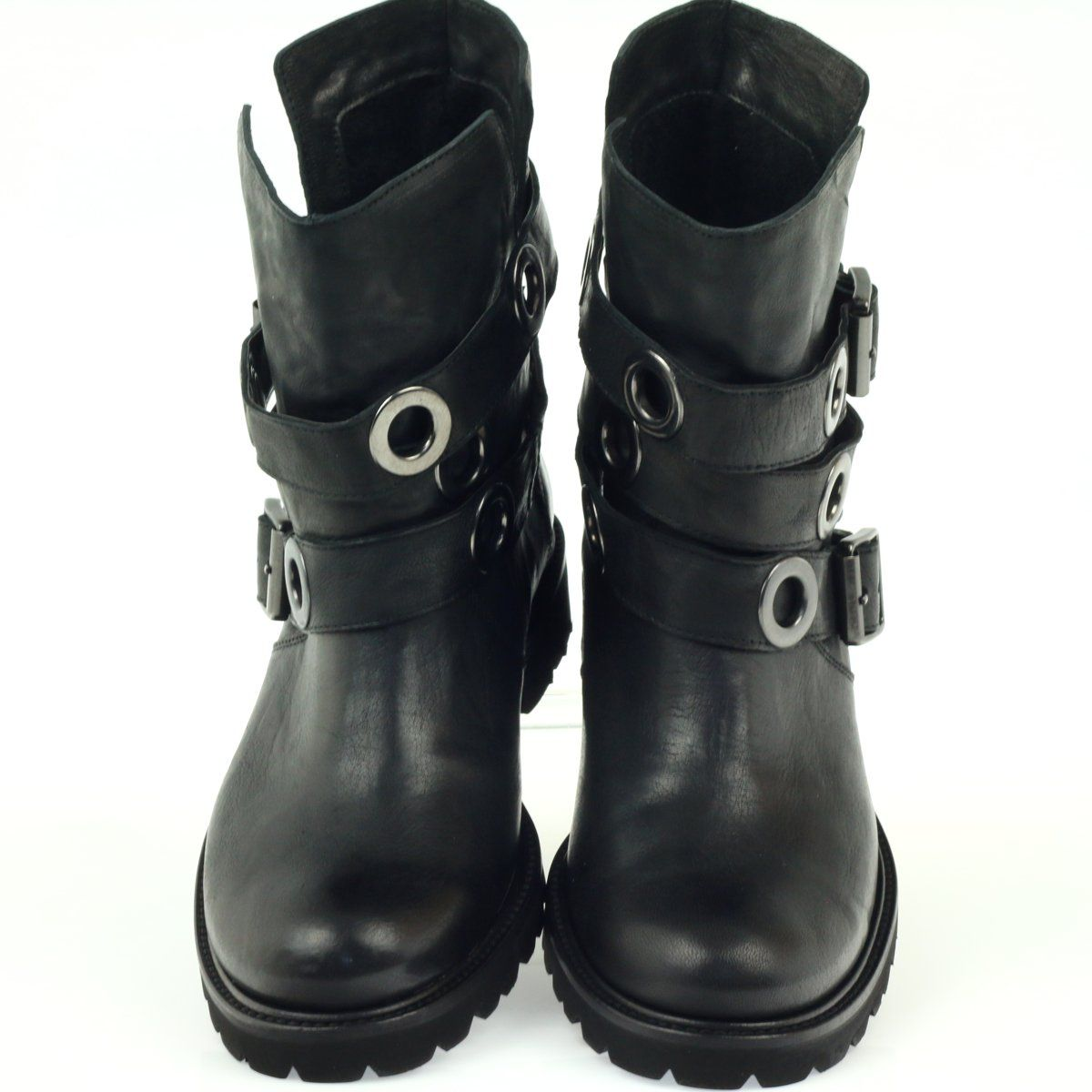 Botki Paski Zdobione Kolkami Badura Czarne Boots Biker Boot Shoes
