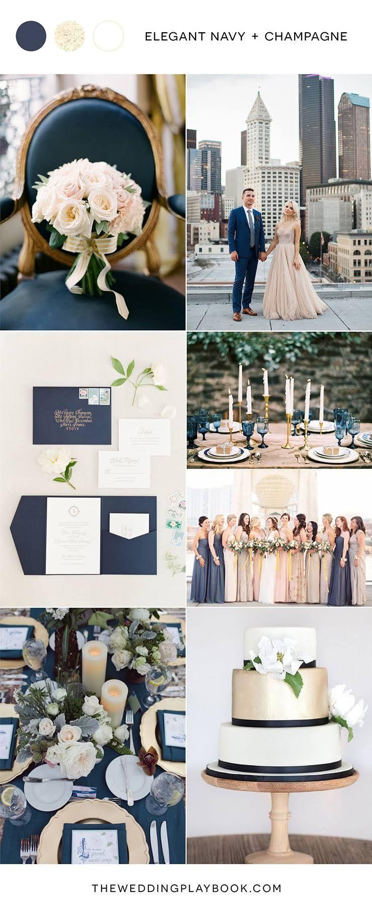 Repurpose wedding dress  Elegant navy and champagne wedding inspiration  Cakes  Pinterest
