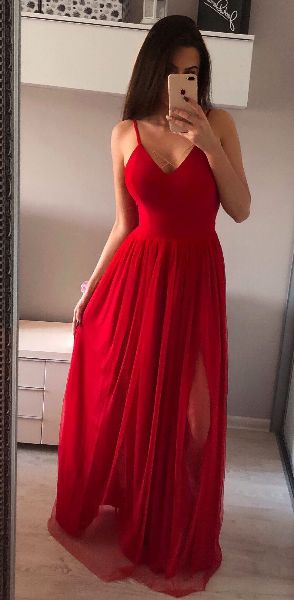 Red see through long prom dresses silver simple tulle prom dress