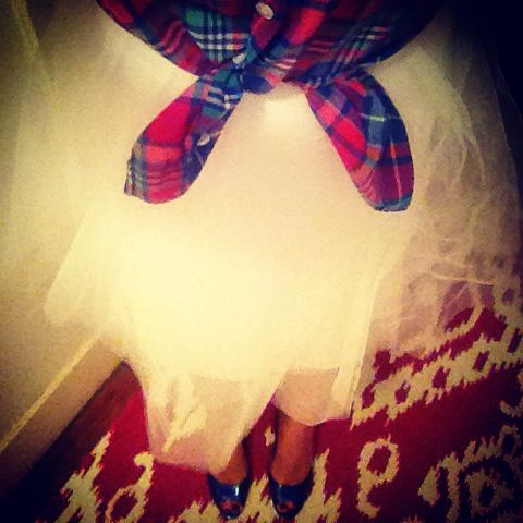 Plaid and tulle.  J crew shirt, Nine West shoes, skirt from Tj Maxx.