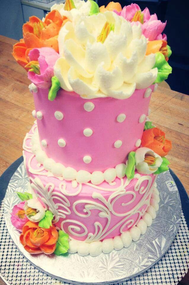 Pink cake white flower cake shoppe bakerysweets pinterest white flower cake shoppe mightylinksfo