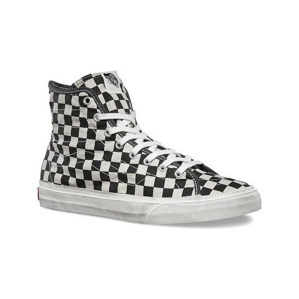 black and white checkered vans high top