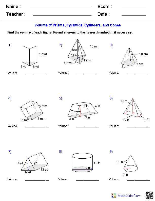Prisms, Pyramids, Cylinders & Cones Volume Worksheets | Math-Aids ...