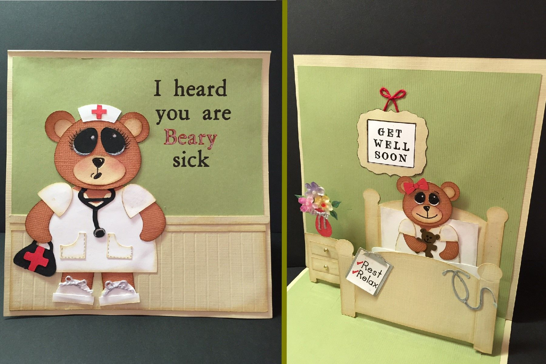 Get Well Soon Bear Pop Up Card Made With Basic Shapes On Cricut Explore Cards Card Making Basic Shapes