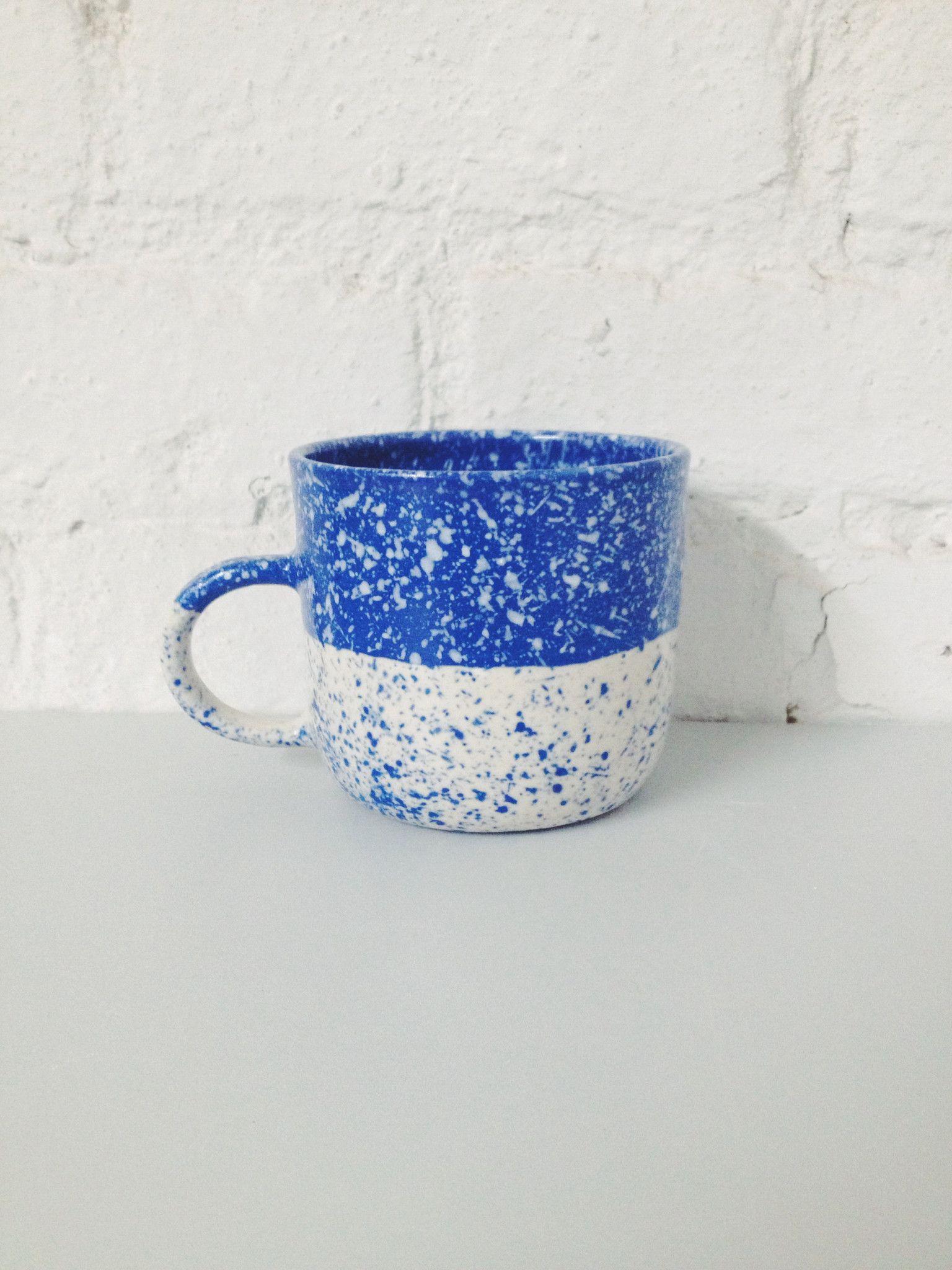 Speckled By Mugs CeramicsSplatter Half Paint Mug Btw Blue xBErCoWQed