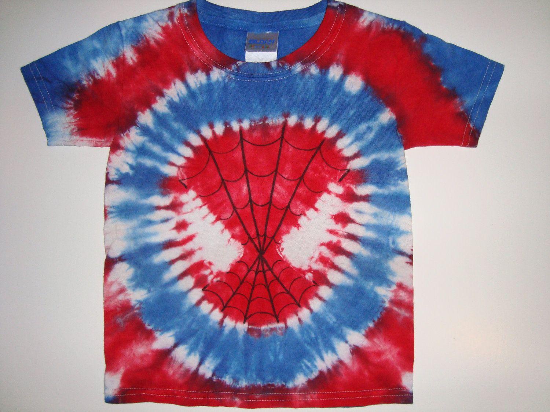 Childrens Tie Dye Spiderman Shirt by HalfPintTieDye on Etsy f5486cb95