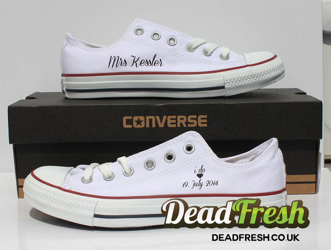 0a49e08a9159 I do Wedding Converse design. Custom All Star Ox Womens Converse White with  black customisation.