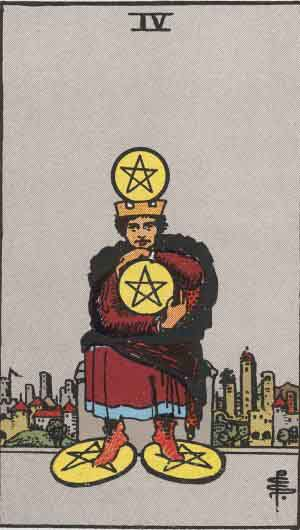 Tarot Card By Card Four Of Pentacles In 2020 Rider Waite Tarot Rider Waite Tarot Decks Rider Waite Tarot Cards Ten of pentacles shows a woman staring at a man in a satisfied manner. pinterest
