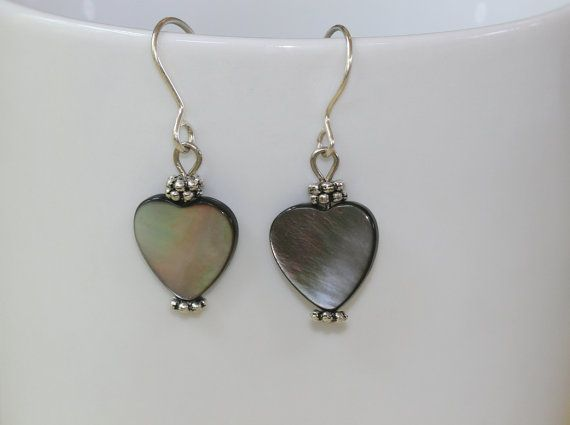 Heart Shaped Mother Of Pearl Earrings In By Annasjeweldesign