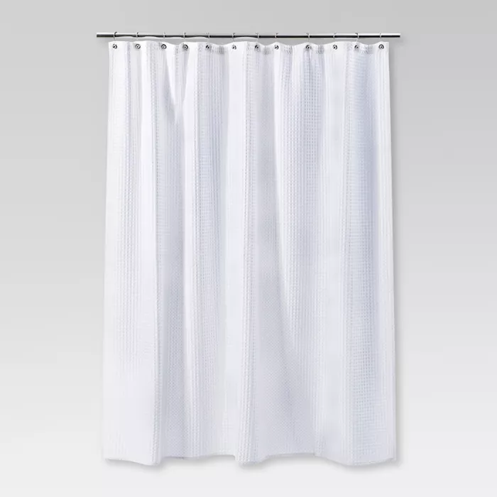 Waffle Weave Shower Curtain White Threshold Curtains Striped