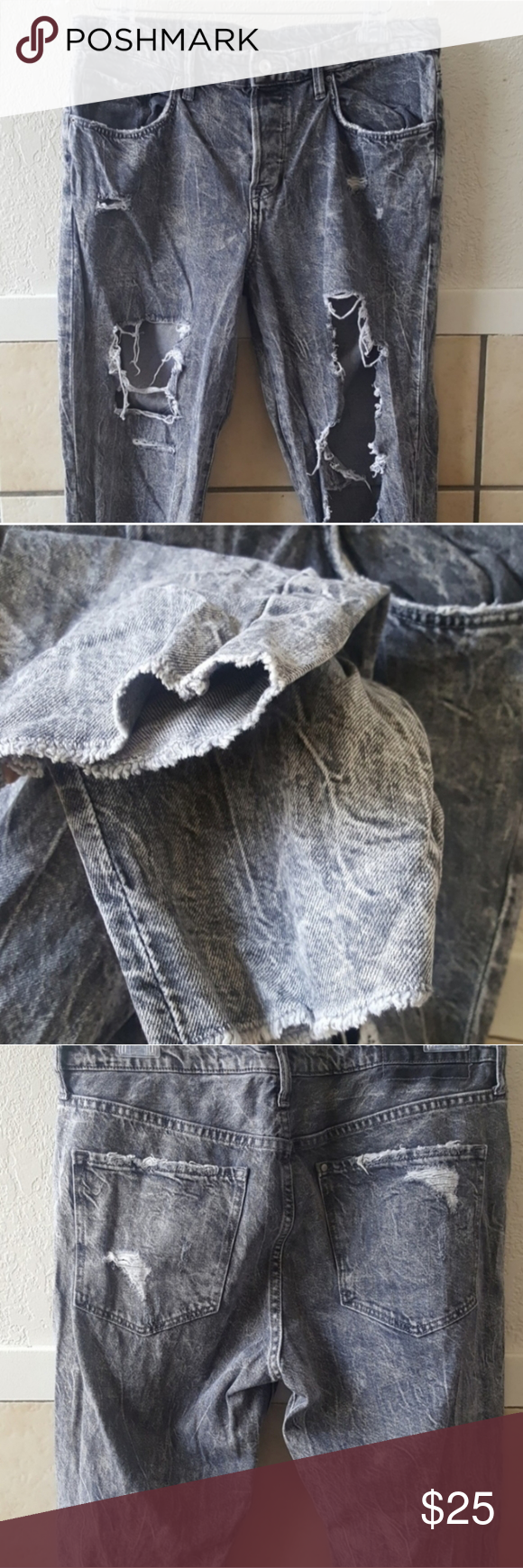 H&M super destroyed stone washed jeans size 10 H&M super destroyed stone washed jeans  Extra destroyed on legs and raw hem bottom.  Please see all pictures  Size 10 Waist measured when flat 17