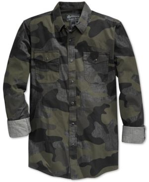 4cd70786 American Rag Men's Supreme Camouflage Long-Sleeve Shirt, Only at Macy's -  Gray S