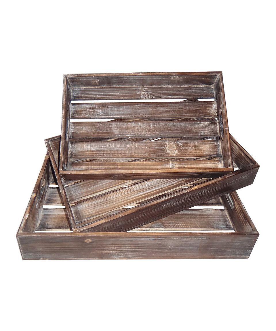 Take a look at this Wood Slat Tray Set today!