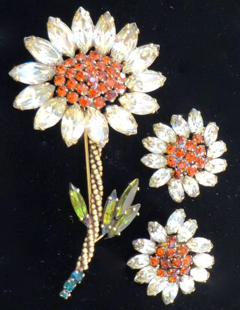 KILLER FAB Vintage WEISS Clear Orange Rhinestone Flower Pin Clip Earrings DEMI
