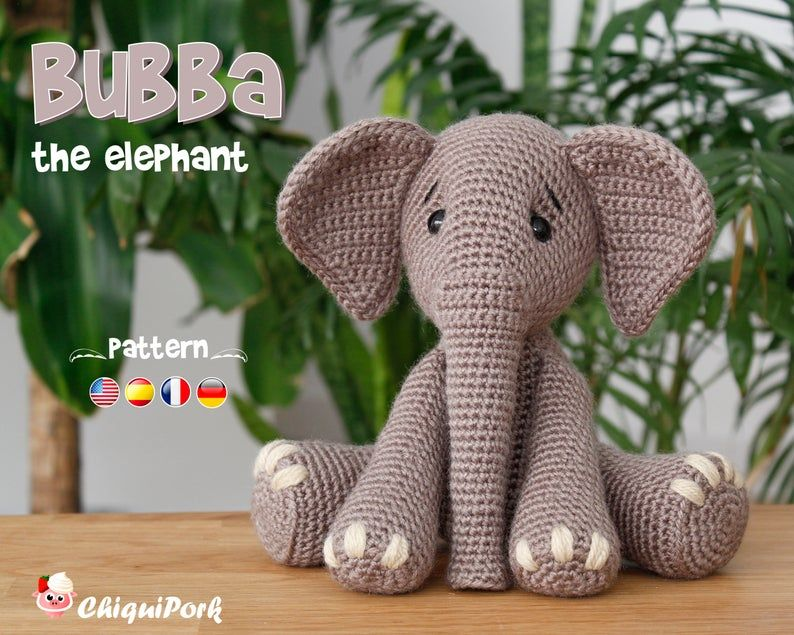 Crochet Elephant PATTERN Amigurumi Elephant pattern pdf tutorial - Bubba the Elephant