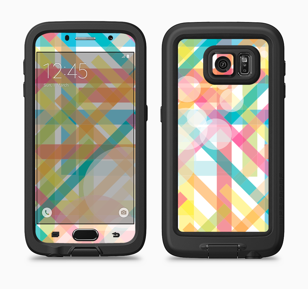 The Colorful Abstract Plaid Intersect Full Body Samsung Galaxy S6 LifeProof Fre Case Skin Kit