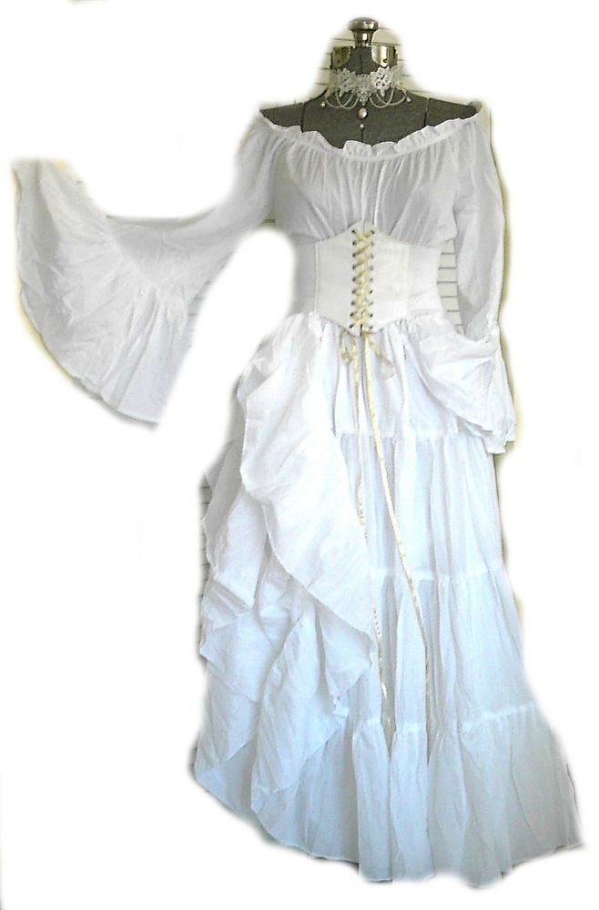 Medieval Chemise Renaissance White Fancy Dress Halloween Adult Costume Accessory