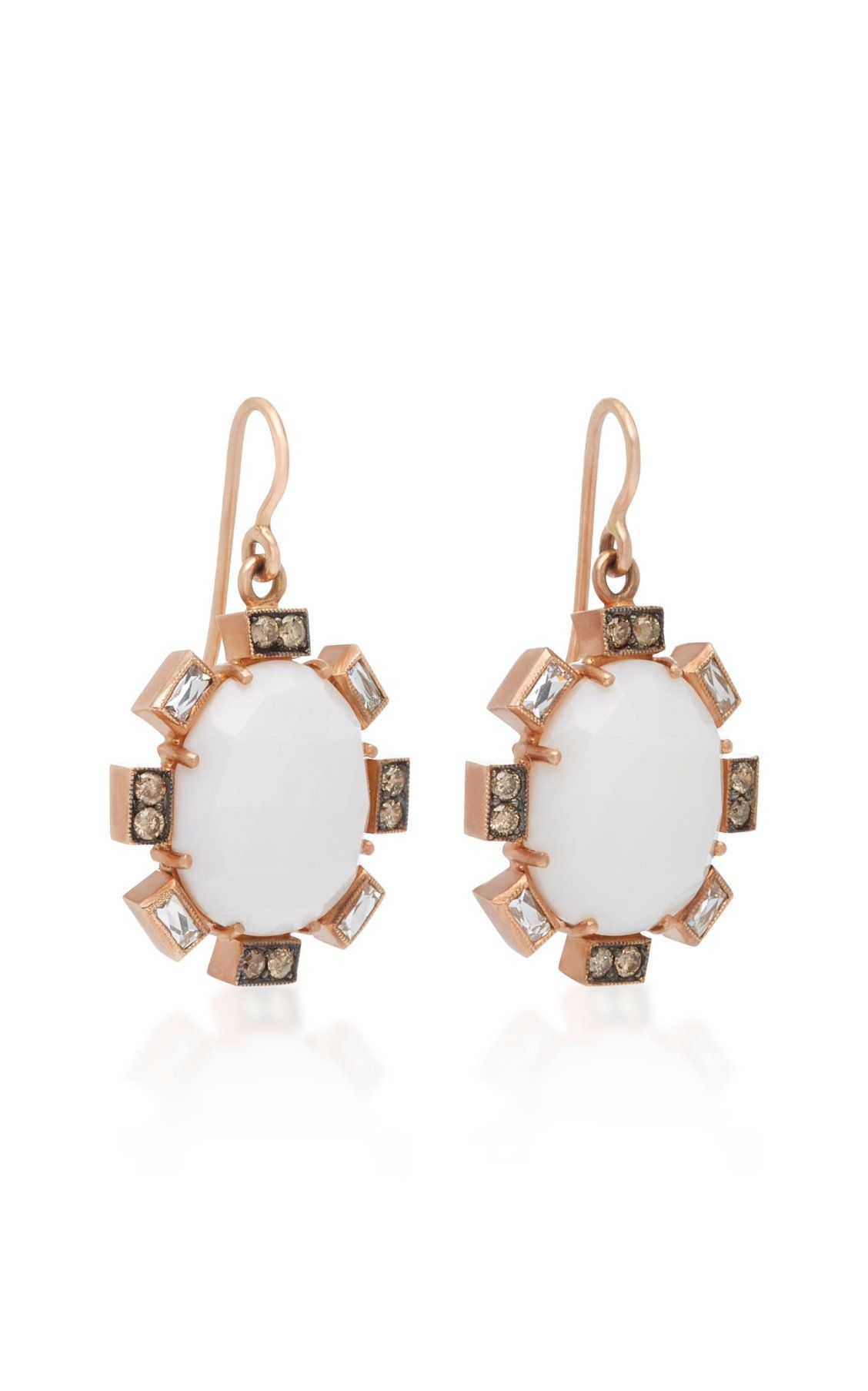 14K Rose Gold Cocholong and Diamond Earrings Sylva & Cie. DL8fTZB