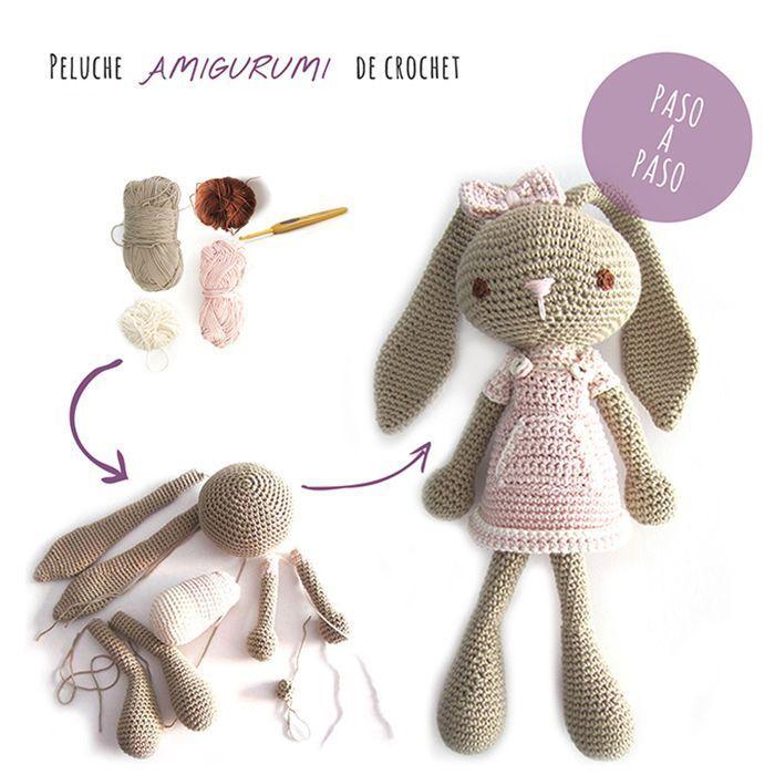 Peluche de crochet conejita de orejas largas - Amigurumi   编织 ...