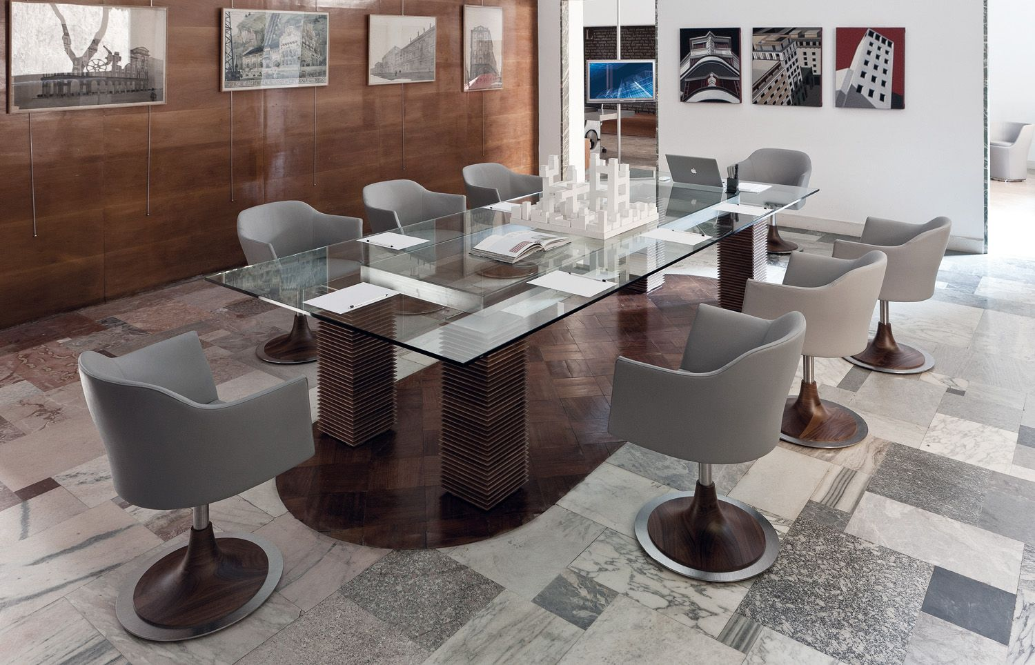 Porada burton dining table with kelly chairs porada for Porada arredi srl