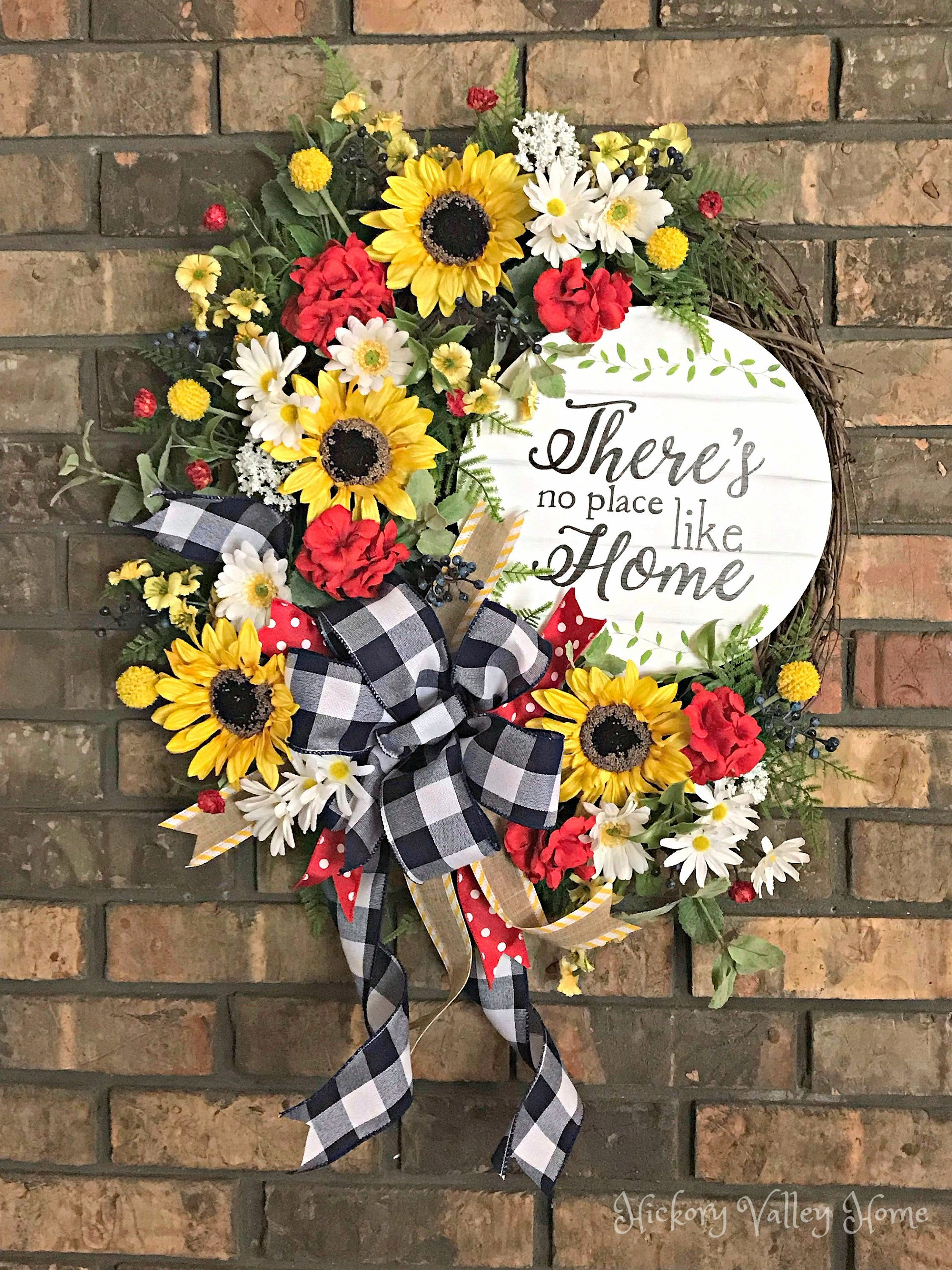 Large Summer Wreath Summer Grapevine Wreath Summer Swag Front