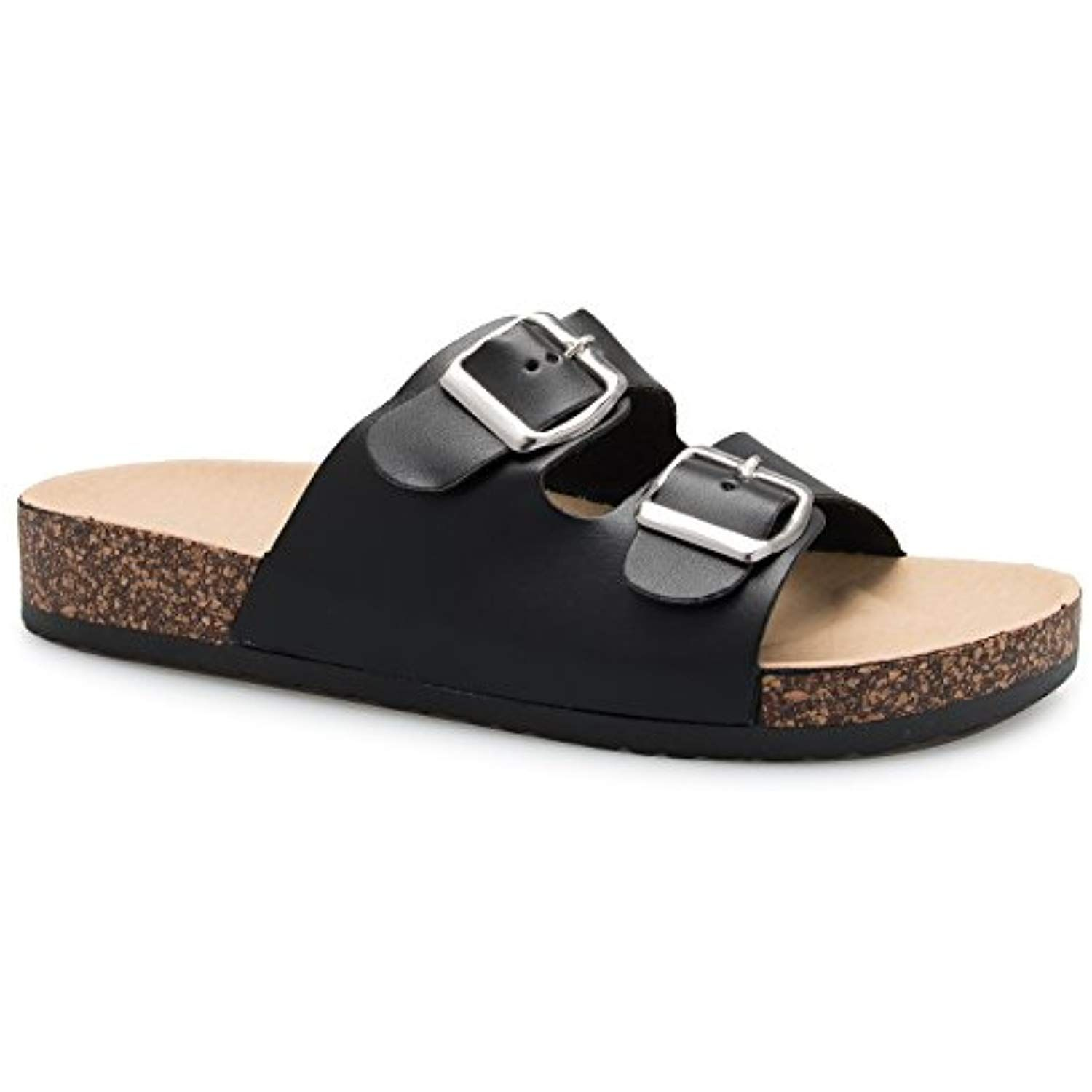 23c3e8818 Women s Summer Open Toe Double Buckle Strap Fashion Cozy Footbed Flat  Sandals     You can find out more details at the link of the image.