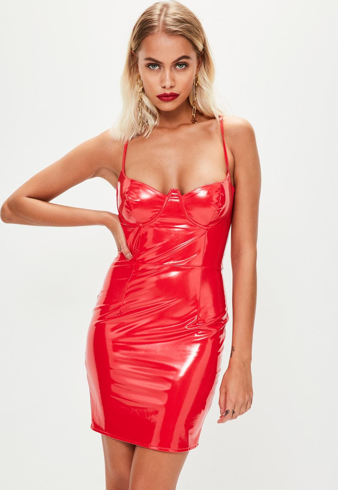 16d5da88c869 Missguided - Red Vinyl Bustcup Strappy Bodycon Dress