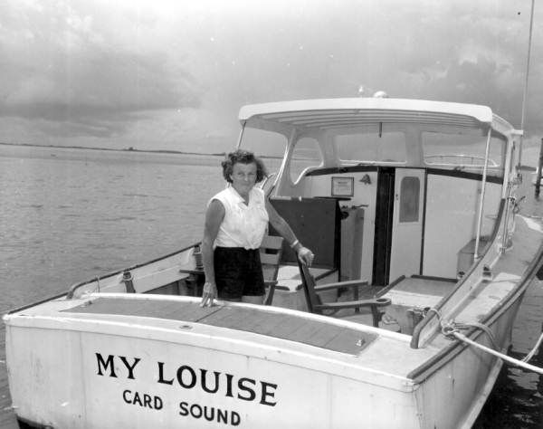 Captain Louise Harris on her charter boat in Card Sound, Florida
